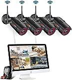 Système de Caméra Sécurité sans Fil, kit de Vidéosurveillance pour la Maison, 4 canaux 1080p...