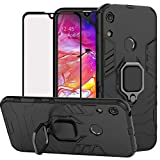 DuoLide for Huawei Honor Play 8A / Honor 8A / Y6 2019 Case, 2 in 1 Hybrid Heavy Duty Armor Shockproof Defender Kickstand Dual Layer Bumper Hard Back Case Cover Tempered Glass Screen Protector,Black