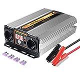 BYGD Convertisseur de tension 12 V 230 V/1000 W Onduleur 12 à 230 et 2 fiches crocodile clip pour batterie de voiture