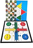 Novahobby 3 in 1 Travel Portable Board Game Folding Magnetic Ludo, Chinese Checkers, Snakes & Ladders 9.8 inch Mini Size