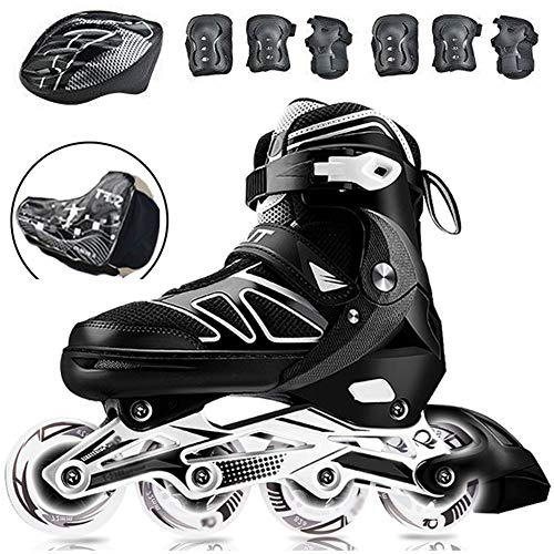 Professionale Pattini in Linea Rollerblade per Bambini Adulti, Comodi Scarpe Speed Skating per Principianti, Pattini Roller per Le Donne e Uomo Sport Outdoor Black-38 to 41