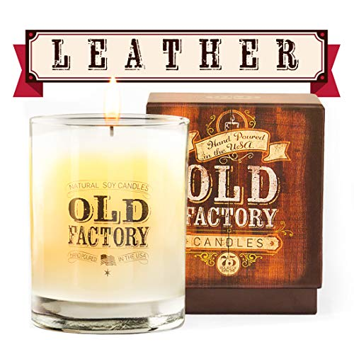 Old Factory Scented Candles - Leather - Decorative Aromatherapy - Handmade in The USA with Only The Best Fragrance Oils - 11-Ounce Soy Candles