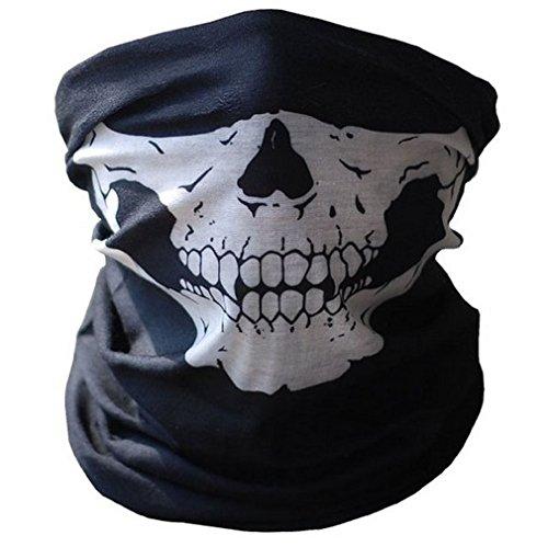 Skelettmaske Halstuch Schlauchtuch Halber Schädel Motorrad Gesichtsmaske Rohr Maske schwarz | Geschenk für Männer | Schlauchschal | Schal | Rohrschal |