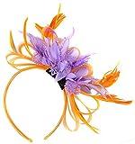 Tocado con plumas de red en color naranja y lila morado para bodas, carreras de Ascot real