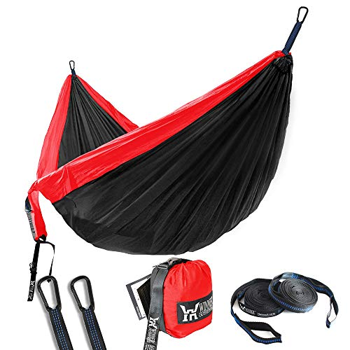 Winner Outfitters Double Camping Hammock - Lightweight Nylon Portable Hammock, Best Parachute Double Hammock for Backpacking, Camping, Travel, Beach, Yard. 118 (L) x 78 (W) Red Charcoal