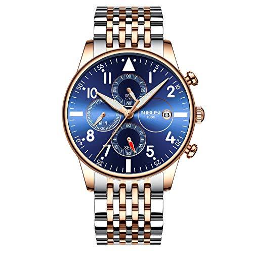 NIBOSI Men's Military Luxury Quartz Stainless Fashion Chronograph Watch (Rose Gold Blue)