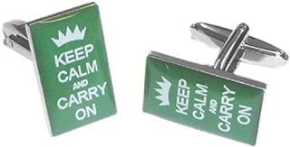 Gtr Men's Cufflinks X2BOCR023 British Racing Green Keep calm & Carry on Cufflinks