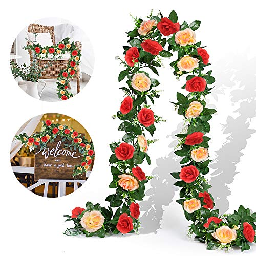 EPLST 2 Pack/ 15.7 FT Artificial Flowers Lifelike Silk Decorative Faked Flower Rose Vine Rattan Cane Garland Wall Hang Plant Wedding Party Home Garden Hotel Office Arch Arrangement Decoration Red Cham
