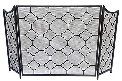 Javi Fireplace Screen with Doors Large Flat Guard Fire Screens Outdoor Metal Decorative