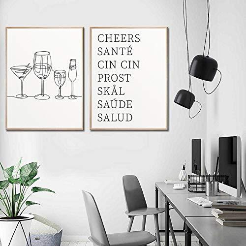Glases One Line Art Print Bar Carrito Imagen de cocina Dibujo Arte de la pared Lienzo Pintura Cartel de bebidas de alegría Cuadro Decoración 15.7 'x 23.6' (40x60cm) x2 Sin marco