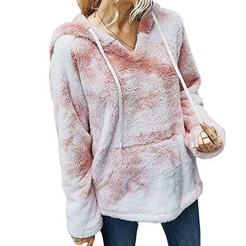 iMixCity Suéter de Lana borroso para Mujer Sudadera con Capucha de Sherpa con Estampado de teñido Anudado Peludo Abrigo Informal Suelto con Bolsillo (Rosado, L)