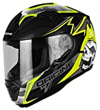 Origine Helmets Casco Moto, Nero/Lime, Taglia XS