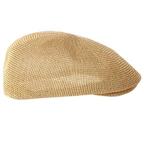 TININNA Mujer Hombres Sombrero de Boina Gorra de Paja Gancho con Visera Casquillo Vintage Sencilla Ocio al Aire Libre Sombrero del Sol Protector Solar-Caqui