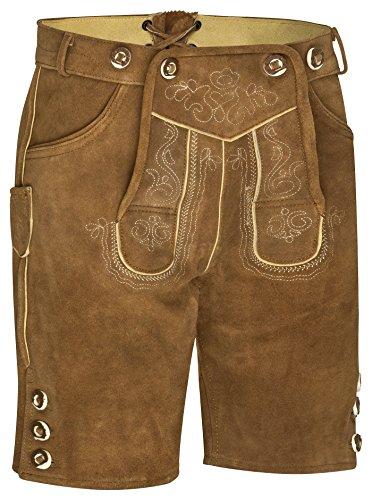 Herren Trachten Kurz Lederhose mit Träger (50 Hellbraun)