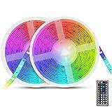 Tira de luces LED RGB, AUELEK 10m Multicolor 5050 RGB 300 LED IP65 impermeable flexible de neón decorativa con mando a distancia por infrarrojos de 44 teclas y fuente de alimentación de 12 V