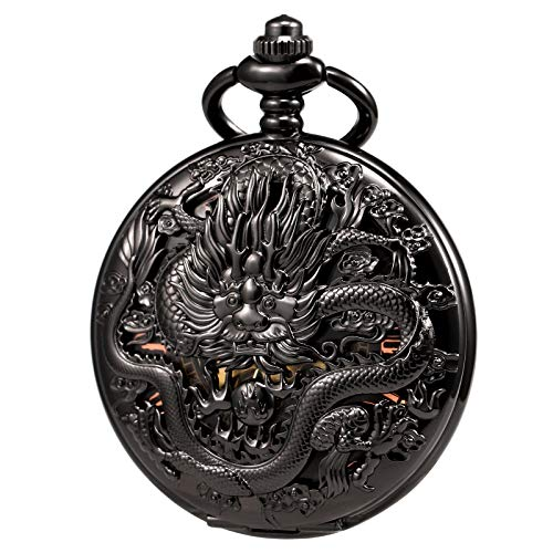TREEWETO Mens Womens Antique Skeleton Mechanical Pocket Watch 3D Dragon Case with Chain Box