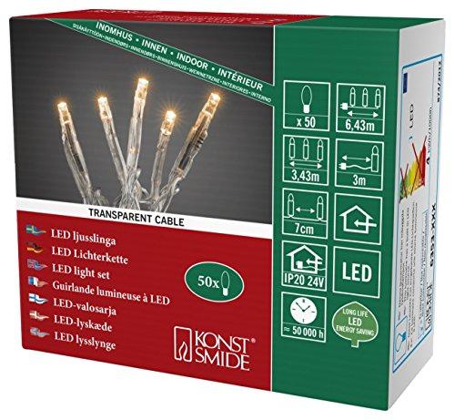Konstsmide 6353-823 Micro LED Lichterkette / für Innen (IP20) / VDE geprüft / 24V Innentrafo / 50 bernsteinfarbene Dioden / transparentes Kabel