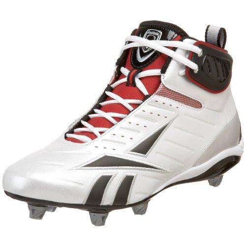 Reebok Men's Bulldodge Mid D III KFS Lacrosse Shoe,White/Black/Silver/Red,15 M US