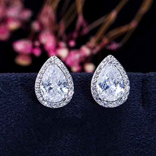 Mode lyx 925 sterling silver zirkon örhängen örhängen för kvinnor gåva smycken Bästa Black Friday-E655