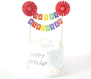 YUINYO Happy birthday Cake Topper,Birthday Cake Banner-Cheers to Year - Party Decoration (Red)