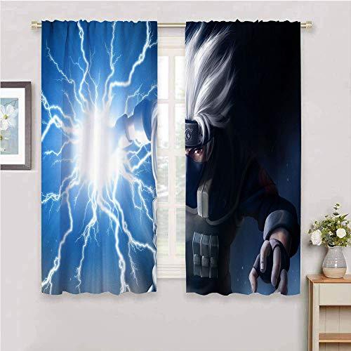 Cortinas opacas con diseño de anime japonés Naru-to con aislamiento térmico para sala de estar, 106 cm de ancho x 137 cm de largo