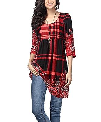 NuoReel Women's 3/4 Long Sleeve Plaid Paisley Empire-Waist Tunic Casual Shirt Dresses