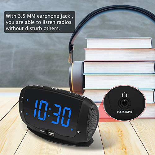 DreamSky Alarm Clock Radio for Bedroom with Dual USB Charging Ports,1.4 Inches Blue Digits with Adjustable Dimmer, Digital Clock FM Radio with DST and Snooze.