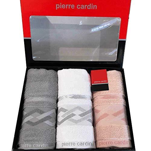 PierreCardin - Juego de toallas 3 + 3 cara + toalla de invitados Neapolis (perla – crema – gris
