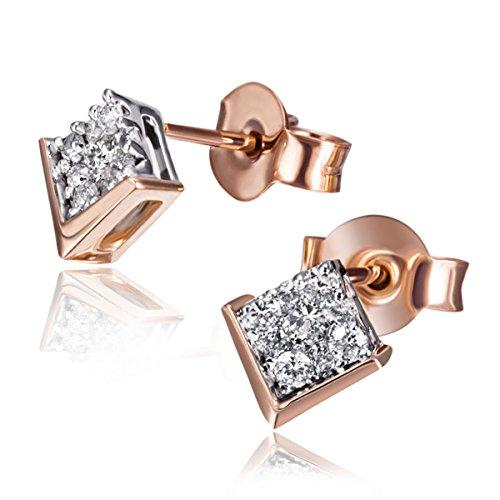 Goldmaid Damen-Ohrstecker 585 Rotgold 18 Diamanten 0,26 ct. Ohrringe Brillanten Schmuck