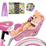 ANZOME Asiento de bicicleta para muñecas para bicicleta infantil con clip de radios, estrellas, pegatinas, cintas para manillar, para montar en bicicleta de muñecas, set de regalo, oso
