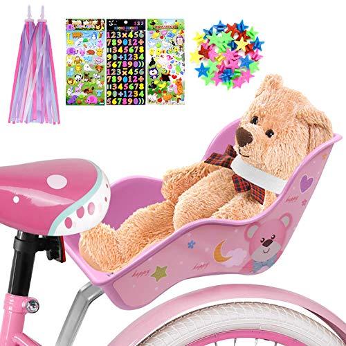 ANZOME Puppen Fahrradsitz Puppensitz für Kinderfahrrad mit Speichenclip Sterne, Aufklebern, Streamer Lenker Bänder, für DIY Puppenfahrradsitz Mädchen Geschenk Set - Bär