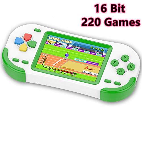 ZHISHAN Tragbare Handheld Spielekonsole für Kinder Erwachsener mit Eingebauten 220 16Bit Klassisches Retro Videospiele 3.0