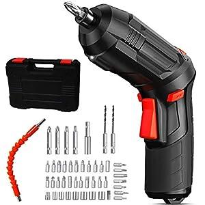 47pcs Juego de destornilladores de batería recargable 4.8v 1800mah Caja de almacenamiento de cable USB Luz LED Compacto portátil Plegable 3.5N / M Kit de herramientas de torque máximo