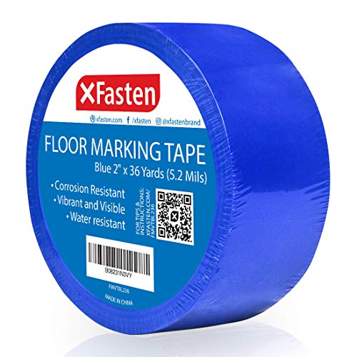 X Fasten Floor Marking Vinyl Tape, Blue, 2 Inches x 36 Yards 6 Mils Thick, Concrete Industrial Marking Tape for Industrial Warehouses, Gyms, Dance Floors, Courts, and Athletic Sporting Events