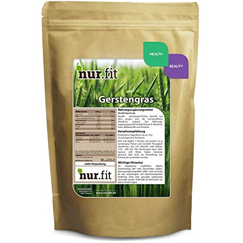 Nurafit herbe d'orge en poudre (végétalien) - 1000g / 1kg certifié très bonne qualité - Superfood pour des boissons saines et de délicieux smoothies équilibrés