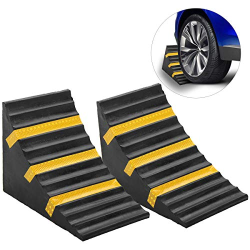 "ScinoTec 2 Pack Wheel Chocks Heavy Duty Industrial Rubber Wheel Blocks with Reflective Strips for Travel Trailer Hauler Truck Fire Truck Commercial Vehicle RV (10"" x 6"" x 7.3"", 2 Pack Hollow Core)"