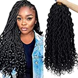 6 Packs 18 inch Crochet Braiding Synthetic Braids Hair Curly Goddess Box Crochet Hair Extensions 24 Stands/Pack(T-1B)
