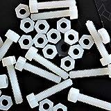50 x tornillos de cabeza allen de nailon, tornillos de plástico, M4 x 20mm, Tornillos, Tuercas, Arandelas