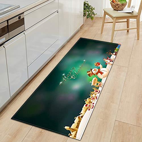 HLXX Alfombrilla de Cocina Decoración navideña Alfombra de Puerta de Sala de Estar Alfombra de baño Antideslizante Pasillo Dormitorio Alfombra Infantil A14 50x160cm