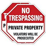 No Trespassing Sign, Private Property, (2 Pack) 12x12 Octagon Shaped Rust Free Aluminum, Weather/Fade Resistant, Easy Mounting, Indoor/Outdoor Use, Made in USA by Sigo Signs