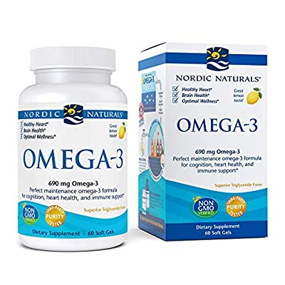 Nordic Naturals Omega-3, Lemon Flavor - 690 mg Omega-3-60 Soft Gels - Fish Oil - EPA & DHA - Immune Support, Brain & Heart Health, Optimal Wellness - Non-GMO - 30 Servings