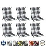 Beautissu 6er Set Sunny MK Niedriglehner Auflagen Set für Gartenstühle 100x50 cm in Mintgrün...