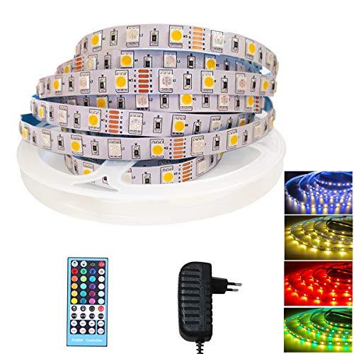 Tesfish 5M RGBWW Tira de LED RGB + Blanco Cálido Color Mezclado DC12V 300 LEDs 5050 Tira de Luces LED con Adaptador de Corriente y Control Remoto para Decoración del Hogar, Fiesta, Cocina