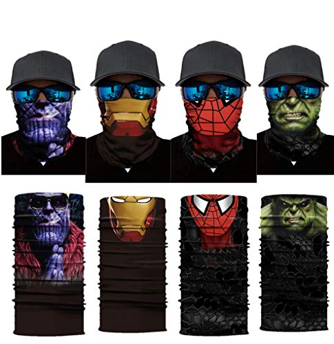 Iron Spider Bandanas Thano Balaclava Face Mask Hulk Neck Gaiters for Men Dust, 4 Pack