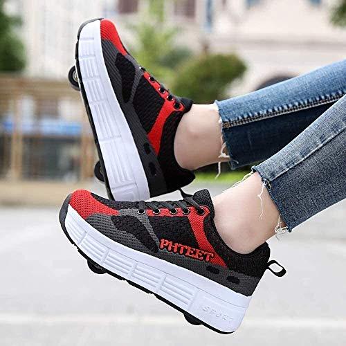 Zapatos de patines de ruedas para niños y niñas, zapatos de skate técnicos de doble rueda, zapatillas de deporte de malla transpirable para exteriores con ruedas ( Color : Red+Black , Size : 37EU )
