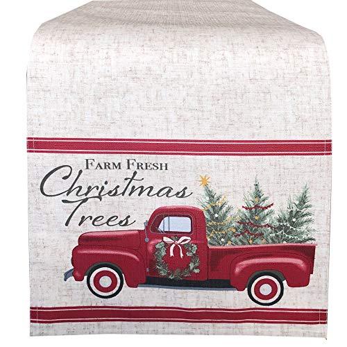 """Newbridge Pine Hill Christmas Tree Farm Fabric Holiday Table Runner - Nostalgic Retro Christmas Farm Truck Print Table Runner, 72"""" Long Farm Fresh Red Truck Table Runner"""