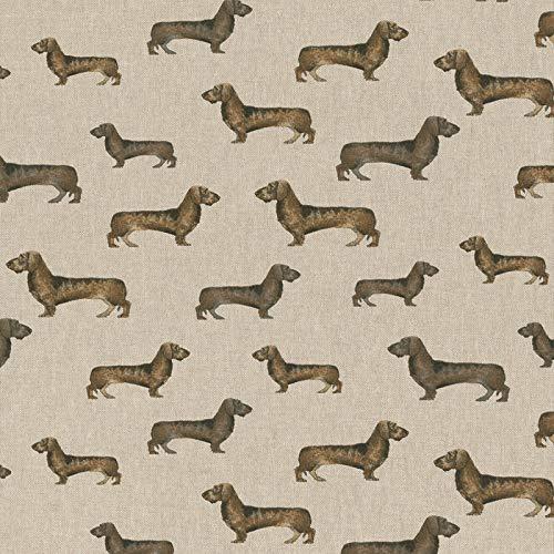 Hans-Textil-Shop 1 Meter Stoff Meterware Dackel Hunde Jäger Jagd - Deko, Tischdecke, Vorhänge, Kissen, Nähen, Basteln, DIY