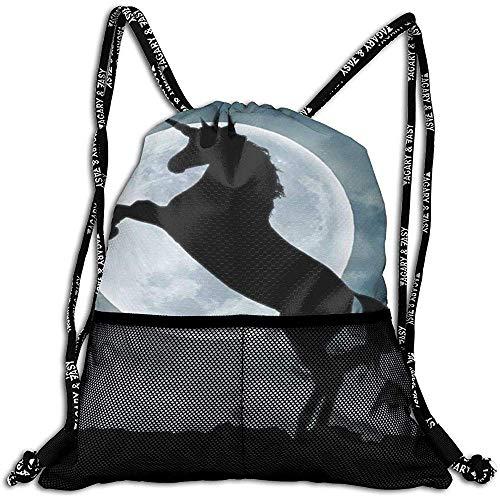 Not applicable Natur-Schattenbild-draußen Himmel-Mond-personalisierte Zugschnur-Rucksack-Maschen-Tasche Unisex für Reise-Eignung