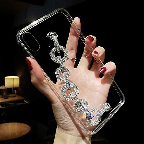 LIUYAWEI para iPhone 11 Funda con Diamantes de imitación, Pulsera, Cadena, Cristal, Funda para iPhone 11 Pro MAX XR XS 6S 7 8 Plus SE 2020 12 Funda, Transparente, para iPhone XS