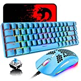60% Mechanical Gaming Keyboard Mini 68 Keys Wired Type C 18 RGB Backlight Effects,Lightweight RGB 6400DPI Honeycomb Mouse,Large Mouse Pad Compatible with PS4,Xbox,PC,Laptop,MAC (Blue/Blue Switch)